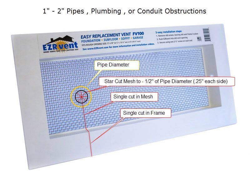 FV100 Foundation Vent Small Pipe Obstruction Modification Instructions